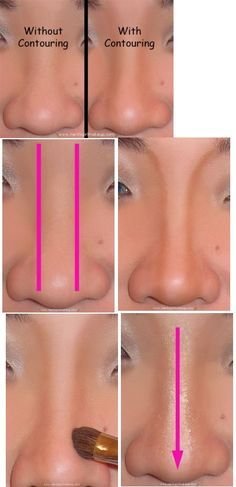 Nose contouring is an important element of each makeup. In this tutorial, we`ll show you how to make a wide nose appear narrower with the help of a makeup techniques. We believe everyone is beautif… Makeup Techniques Nose Contouring, Contour Makeup, Contouring And Highlighting, Skin Makeup, How To Contour Nose, Eyeshadow Makeup, Love Makeup, Makeup Tips, Beauty Makeup