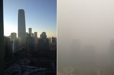 China's air pollution has been bad lately. Really, really bad.     Both photos were taken in Beijing by Bill Bishop, who runs an excellent all-things-China e-mail newsletter called Sinocism. The photo on the left shows his view on a clear day. That tall building is the mammoth China World Trade Center Tower III.    On the right is a photo of the same view, taken late on Wednesday 8am.