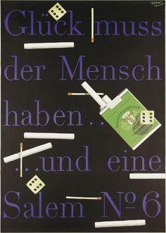 By Herbert Leupin (1916-1999), 1954,  Salem (5 Zigaretten). (Swiss)