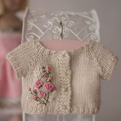 """The sweetest bullion roses embroidered on a knit doll jacket [ """"Hand knit baby sweater with roses - Ana Rosa"""", """"vintage girl - One thing that I still regret bitterly, is not being able to learn my mother how to crochet"""", """"doll pattern The sweetest bullion roses embroidered on a knit doll jacket"""", """"Baby Raglan with Embroidery inspiration only no pattern."""", """"Cutest little doll sweater Ever!"""", """"So pretty, but the link doesn"""