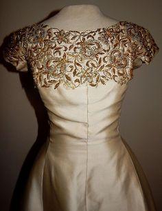 Vintage 60's Beaded HARVEY BERIN Silk Shantung Cocktail Party Dress MOD  #HarveyBerin