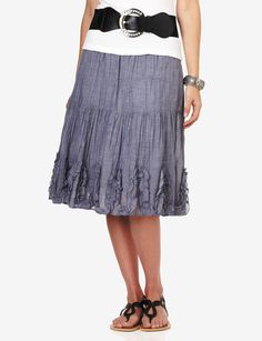 Studio West Tiered Soutache Chambray Skirt