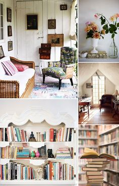 reading nook: a next-house necessity. Book Nooks, Reading Nooks, Interior And Exterior, Interior Design, Living Spaces, Living Rooms, My Dream Home, Interior Inspiration, Small Spaces