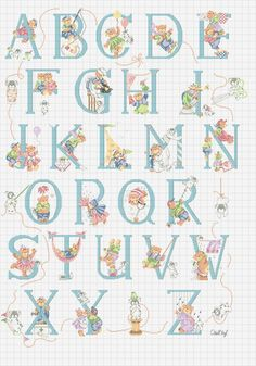 abc cross stitch teddy bear alphabet pattern.