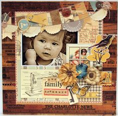 our family, darling lo by Luz Maria Brunap--I rarely pin 1 pic layouts, but I really like the double banner and all the netural layering.