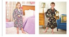Kids Fleece Camo Robe Warm Belted Bath Robes Sizes 4-16 Pockets