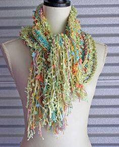 Summer Green Scarf Long Womens Crochet Scarf by aYarnSafari