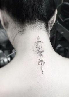 Moon Back of Neck Tattoo Design. #tattooswomensback