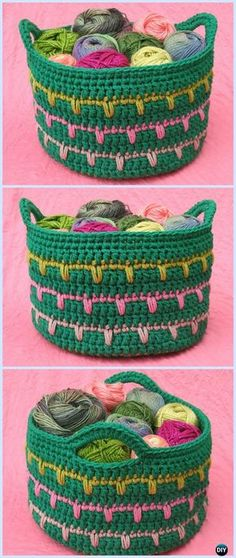 Crochet Spikes Yarn Basket Free Pattern - Crochet Storage Basket Free Patterns