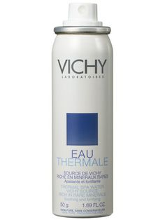 Vichy Thermal Spa Water. I Love this stuff. I spray it on my face when my face turns red and it doesn't spread my make-up and the redness goes away!