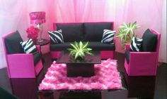 Handmade Doll Furniture Playscale 1:6 Scale for Barbie / Monster High / Bratz Hot Pink and Black Zebra Sofa & Chairs by NanasBarbieFurniture on Etsy https://www.etsy.com/listing/163871429/handmade-doll-furniture-playscale-16