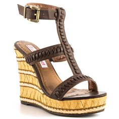 2 Lips Too - Too Hip  Price: $65  Caution the Too Hip might make you too trendy! This 2 Lips Too sandal features a black braided synthetic upper with adjustable strap. A layered and woven effect highlights the 5 inch wedge and 1 inch platform.