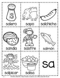 POSTERS y TARJETAS de sílabas iniciales en palabras con s (Spanish)