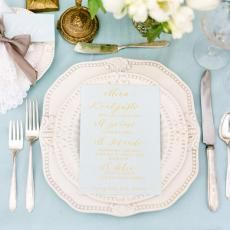 place settings Pale Blue wedding table linen china menu gray bow lace napkins