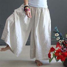 Summer Linen Trousers For Women Elastic High Waist Fashion Female Wide Leg Pants Loose Plus Size Culottes Causal Capris Pants Wide Leg Linen Pants, Linen Trousers, Wide Leg Pants, Long Pants, Plus Size Culottes, Style Chinois, Look Boho, Pantalon Large, Pants For Women