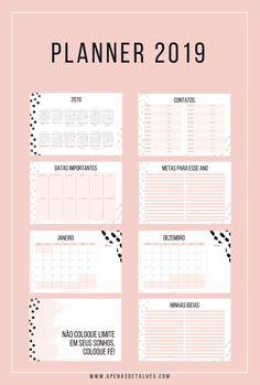 Planner 2019 para baixar gratuitamente e imprimir para planejar e organizar as atividades e os compromissos do ano