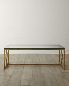 Coffee Table rectangle gold hand-wrought iron glass top  #neimanmarcus #Transitional