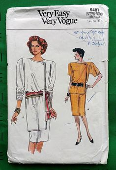 Vogue 9487 dress with front overlay pattern from 1986