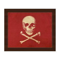 "Click Wall Art 'Skull and Crossbones' Framed Graphic Art Frame Color: Espresso, Size: 18.5"" H x 22.5"" W x 1"" D"
