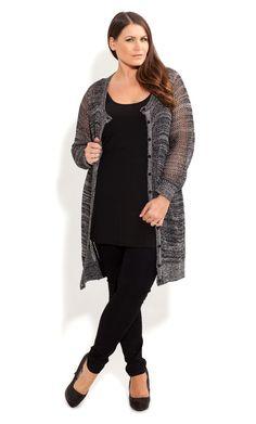 City Chic - SALT N PEPPER CARDI - Women's plus size fashion