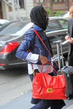 Academy award winner Lupita Nyong'o was spotted walking into her hotel in New York City yesterday