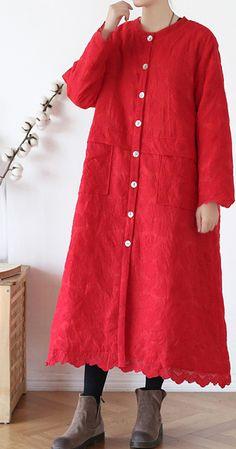 Fine red outwear plus size warm winter coat o neck Jacquard winter outwear