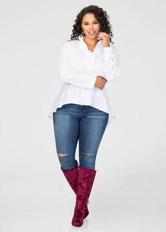 790cea4dc33df Ruffle Trim Hi-Lo Shirt-Plus Size Shirts-Ashley Stewart-035-F4703