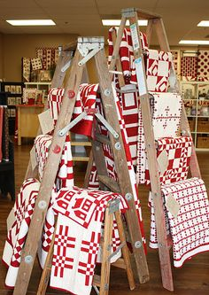 Red and white at Temecula Quilt Co. - how cool to have the whole store in red and white!