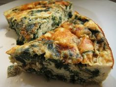 Crustless Spinach and Tofu Quiche - low carb and gluten free