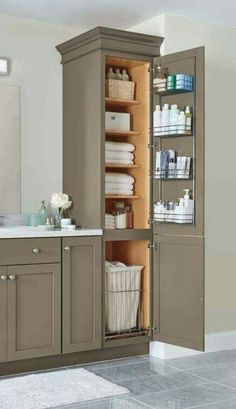 Diy closet ideas home interior dorm room organization fabulous new closet storage graph organization diy small . Bathroom Furniture, Trendy Bathroom, Bathroom Remodel Master, Modern Bathroom Design, Amazing Bathrooms, Small Remodel, Bathroom Storage Cabinet, Bathroom Design, Bathroom Decor