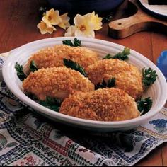This chicken is amazing!  The secret ingredient in the coating is RICE KRISPIES.  I've been making it for years and I always get rave reviews.  Try it!