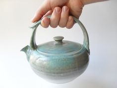 Teapot 18 in Pale Gray and Turquoise with 12Ounce by WindfallArts