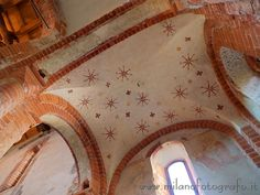 Ceiling of one of the two chapels inside the Red Church or Church of Santa Maria at the Font in Milan (Italy). Visit web site for more pictures and info about the church!