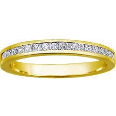 18K Yellow Gold Petite Channel Set Princess Diamond Ring (1/3 ct. tw.) from Brilliant Earth