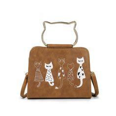 Cute Cat Waterproof PU Hand Bag Wallet Storage Bag Zipper Headset Bag Purse BS