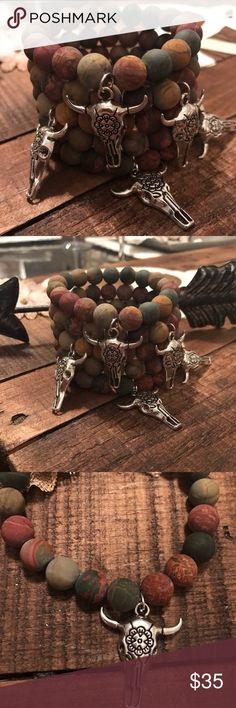🆕 Picasso Jasper Bracelet Perfect Boho jewelry piece! Rich color in this beautiful Jasper stretch bracelet with bull skull charm. Price is firm unless bundled. 😊 Jewelry Bracelets