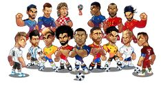 World Cup 2018 Draw Time New Worldcup Russia 2018 Mascotization Messi Cristiano Neymar Salah Messi Vs, Lionel Messi, Football Art, Football Players, Ronaldo Football, Fifa, Soccer Drawing, Barcelona Players, Team Wallpaper
