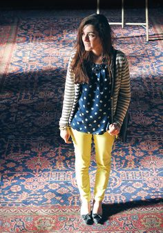 Making dots + stripes work (And the yellow pants don't hurt)