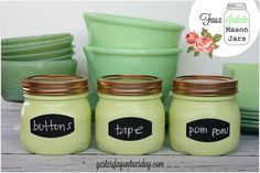 DIY Add an Easy Beautiful Fresh Pop of Color To Your Home ! With these Super Simple Faux Jadeite Mason Jar Storage Solutions ! ( or can use any size recycled glass bottles instead)