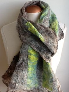 gorgeous long wool scarf alpaca wool and silk by Royalpaca on Etsy, $95.00