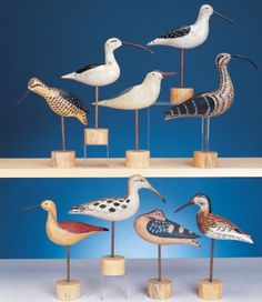 "This shore bird collection features nine hand carved and hand painted shore bird decoys. Set includes the following birds: (2)different Yellow Legs, Greater Yellow Legs, Tern, Dowitcher,(4)different Curlew.Sizes Range From 15"" Long - 8.5"" Long"