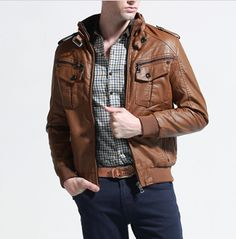 Men's Stand Collar PU Leather Jacket with Inner Fur