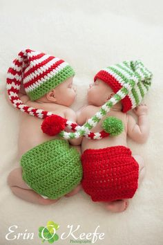Crochet Christmas Elf Hat set on Etsy, $38.00