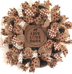 Browse unique items from IslandGirlWreaths on Etsy, a global marketplace of handmade, vintage and creative goods. Dog Wreath, Frame Wreath, Dog Lover Gifts, Dog Gifts, Crafts For Kids, Diy Crafts, Printed Ribbon, Dog Paws, How To Make Wreaths