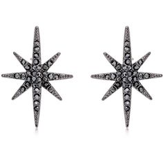 Federica Tosi Women Star Studs Earrings (665 RON) ❤ liked on Polyvore featuring jewelry, earrings, gunmetal, star earrings, star stud earrings, star jewelry and stud earrings