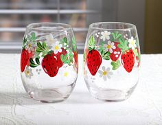 Hand Painted Strawberry theme Stemless Wine Glasses Set of 2 Diy Wine Glasses, Hand Painted Wine Glasses, Stemless Wine Glasses, Strawberry Patch, Strawberry Fields, Strawberry Crafts, Strawberry Hill, Decor Crafts, Diy Crafts
