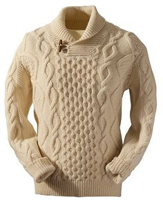 This Aran Shawl Neck Fisherman Sweater captures the spirit of the Aran Islands. The Aran Sweater also known as fisherman sweater enjoys a modern twist the shawl collar design. Gents Sweater, Mens Knit Sweater, Shawl Collar Sweater, Hand Knitted Sweaters, Cable Sweater, Wool Cardigan, Handgestrickte Pullover, Turtle Neck Men, Collar Designs