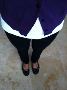 Purple cardi white top n black pants