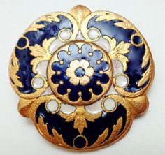 LG FRENCH ENAMEL BUTTON COBALT BLUE w GILT BACK MARKED E.M. PARIS