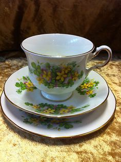 Beautiful Queen Anne fine bone china trio yellow floral design 8615 (two sets available)  $15